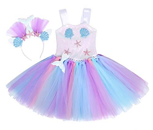 WonderBabe Pettiskirt para festa de aniversário de menina sereia tutu com faixa de cabelo Azul-6-7Y