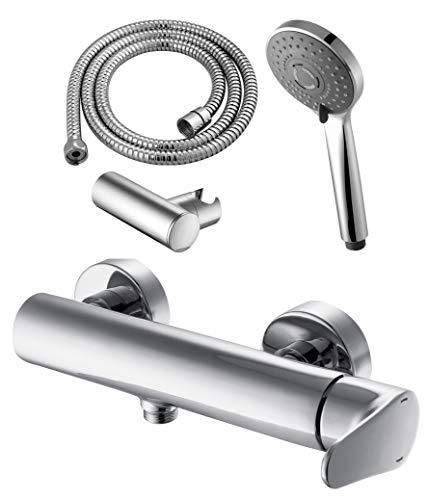GRIFERIAS BORRÁS - SERIE BCN - Grifo ducha Monomando BCN0864C - pack con flexo, soporte pared y manual , Cromo - Instalación Baño
