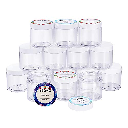 SGHUO 15 Pack 6oz Empty Slime Containers with Water-Tight Lids, Plastic Slime Jars with Stickers for Slime Making, Food, Beauty Products