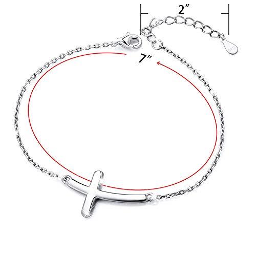 BGTY S925 - Collar y pulsera de plata de ley con colgante de cruz lateral