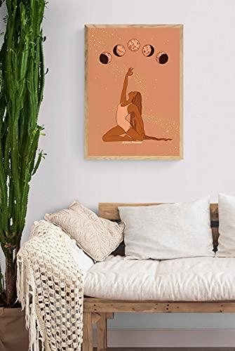 MG global Cósmica Boho Yoga Girl Moon Fases imprimibles, arte divino yogui, decoración de interiores de oficina en casa, minimalista, estilo boho, arte de pared sin marco