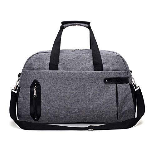 Organizador de bolsos de mano para equipaje de cabina, maleta de viaje de gran capacidad para mujeres, bolso de hombro de fin de semana deportivo simple a la moda, gris
