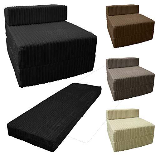 Sapphire Jumbo Cord Z cama de tela plegable individual Z cama futón portátil plegable colchón para dormitorio de invitados sofá de sala de estar, chocolate, suelto