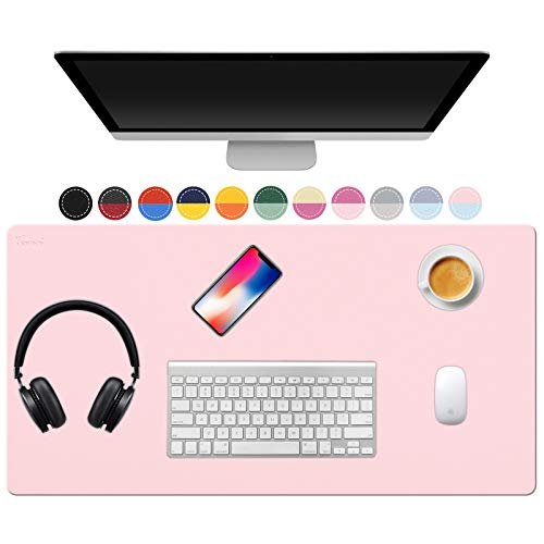 TOWWI Dual Sided Desk Pad, 32' x 16' PU Leather Desk Mat, Waterproof Desk Blotter Protector Mouse Pad (Blue/Pink)