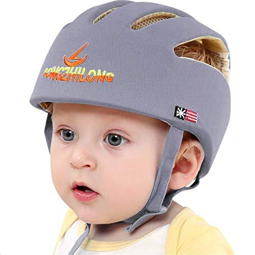 IULONEE Baby Helm Kleinkind Schutzhut Kopfschutz Baumwolle Hut Verstellbarer Schutzhelm Grau