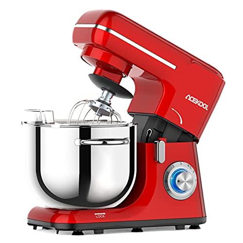 Acekool Küchenmaschine Knetmaschine, 1400W 6L Teigknetmaschine 6 Geschwindigkeit mit Edelstahlschüssel Teigmaschin, Knetmaschine mit Knethaken, Rührbesen, Schlagbesen und Spritzschutz (Rot)