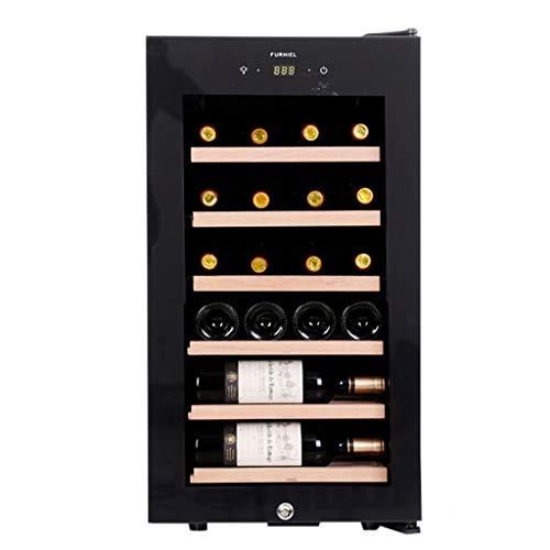 JCOCO Cave à vin de 22 bouteilles avec réfrigérateur, affichage numérique de la température et poignée, Cadre coulissant en chêne pur, Noir