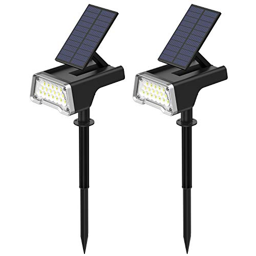 URLIGHTS Solar Lights Outdoor, 36 LEDs Solar Landscape Spotlights, Waterproof 2 in 1 Wall Lights with USB Charge, Adjustable Solar Panel for Yard Garden Driveway Porch Walkway Patio ( 2 Pack)