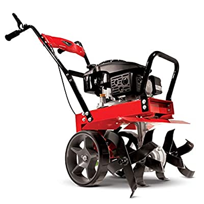 Earthquake 31043 Badger Heavy Duty Front Tine Tiller, 149cc 4-Cycle Kohler Engine, Gear Drive Transmission, Forged Steel Tines, Cast Iron Tail System, Large Wheels with Transport Position.,Red