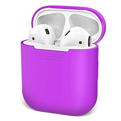 AirPods Case Airpod Case Cover Skins, iKNOWTECH for Apple AirPods Silicone Waterproof Case Shock Proof Protecitive Cover,Resistant Cover Case for Apple AirPods,iPhone X/XS/XR/X MAX7/7P/8/8P (Purple)