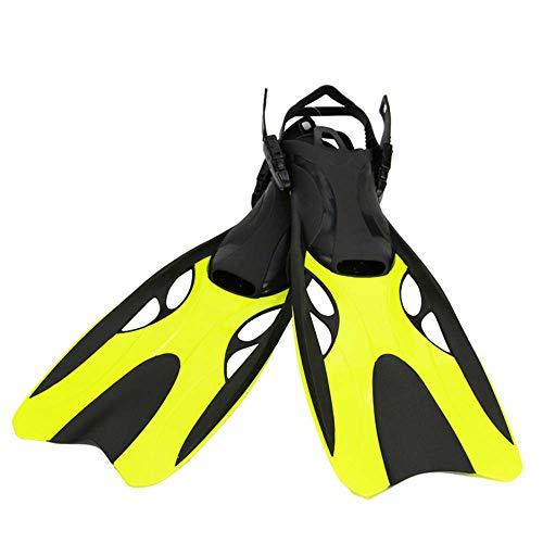 RatenKont Máscara de Gafas de Buceo de Buceo Anti-Niebla/Tubo de Aliento fácil Snorkel / 2 tamaños de Aletas con tacón Ajustable Yellow Fins L XL