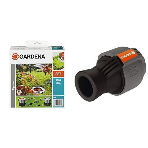 Gardena Start-Set für Garten-Pipeline: Witterungsbeständige Wassersteckdosen & Sprinklersystem Verbinder: Verbindungsstück für Rohranschluss, 25 mm x 3/4 Zoll-Innenewinde
