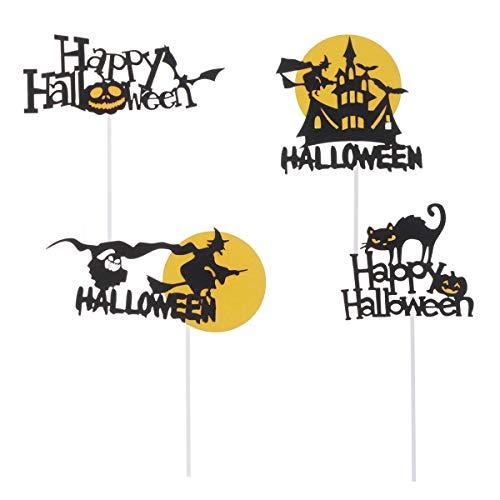 Holibanna - 12 adornos para Halloween con forma de gato, castillo, ideal para fiestas de cumpleaños y niños
