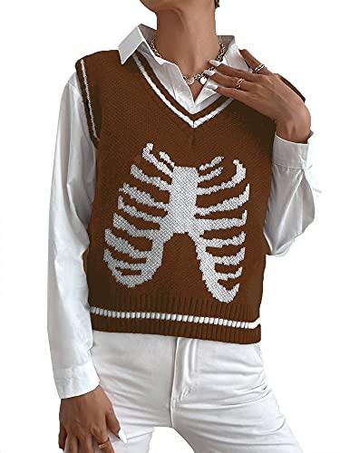 Aurlust Chaleco de suéter para mujer, estampado de esqueleto, cuello en V, suéter de gran tamaño, suéteres sin mangas, marrón, M