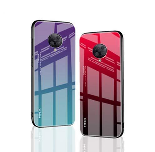 Xiaomi Poco F2 Proケース Poco F2 Pro 背面ケース ストラップホール ガラスフィルムバックパネル付き 強化ガラス背面カバー付き Redmi K30 Pro カバー (レッドブラック)