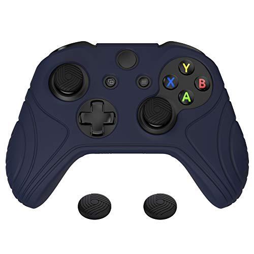 PlayVital Cover Custodia per Xbox One S X Controller Joystick Skin Protettiva Silicone Gomma Antiscivolo con Gommini Coprilevette Analogiche-Samurai Edizione(Blu)