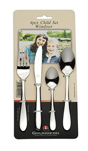 Windsor Fork/Knife/Spoon and Teaspoon Stainless Steel Child's Cutlery Set, 4-Piece