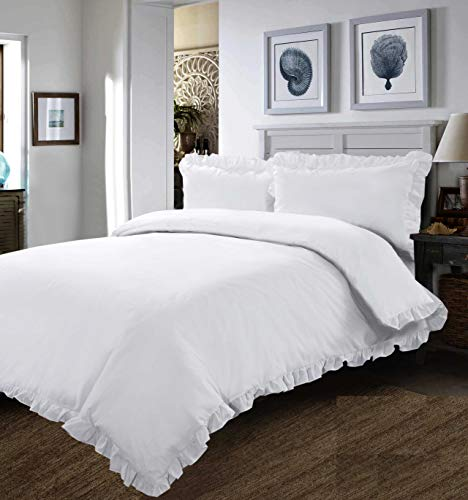 ROOEE - WHITE FRILLED EDGE DUVET SET - BEDDING SET QUILT COVER PILLOW CASE - SUPREME QUALITY IN (King)