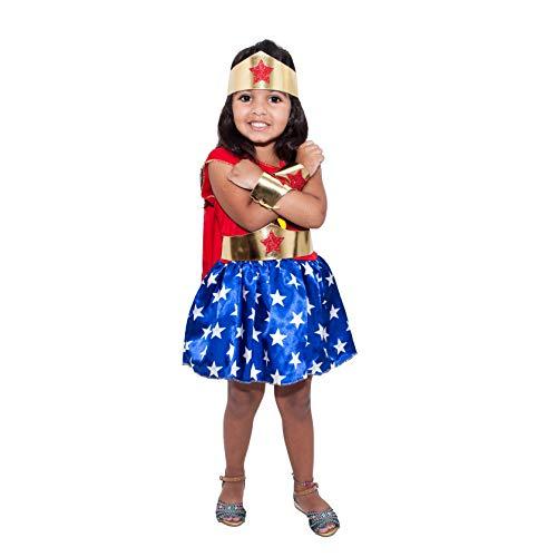 Fantasia Mulher Maravilha Infantil Vestido Menina Tiara Cinto e Bracelete (PP)
