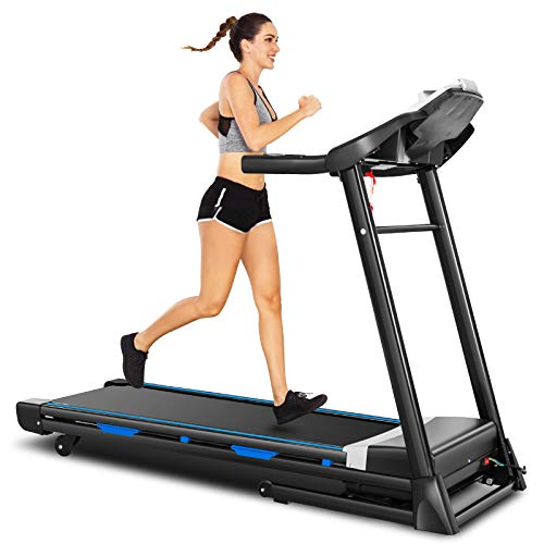 ANCHEER Folding Treadmill with Automatic Incline, 3.25HP, 300 lbs Weight Capacity, App Control, Electric Running Treadmills for Home with Large LCD Screen, Bluetooth Speakers