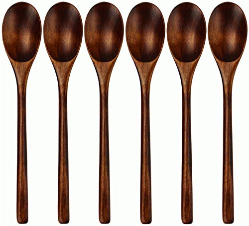 Spoons, Wooden Spoons for Eating, 6 Pieces Japanese Natural Plant Ellipse Wooden Ladle Spoon Set for Cooking Mixing Stirring Honey Tea Soda Dessert Coconut Bowl Nonstick Pots Kitchen