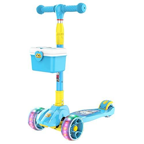 Trottinette pour enfants 2-8 ans Débutant Bébé Enfant Fille Trois Quatre Tours 1 Seul Pied Glissant Large Roue (Couleur : Bleu)