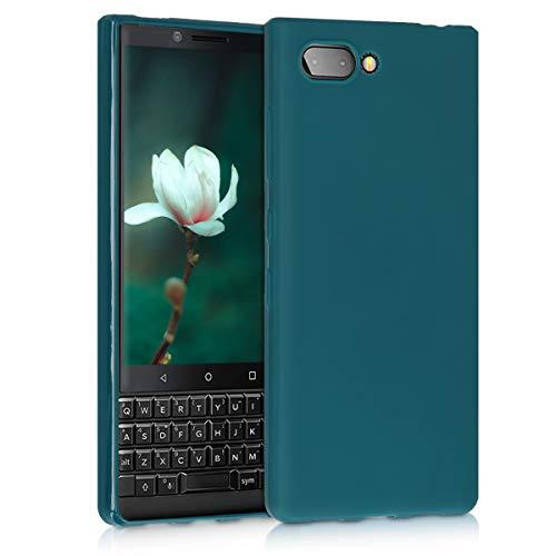kwmobile Funda Compatible con Blackberry KEYtwo (Key2) - Funda Carcasa de TPU Silicona - Protector Trasero en petróleo Mate