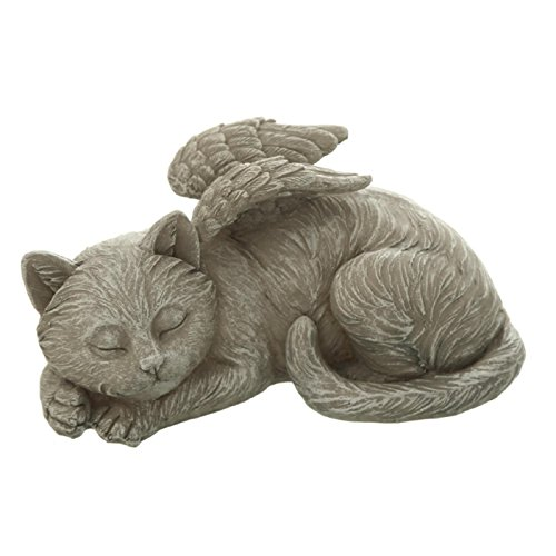 Katzengrab Figur liegend schlafend mit Engelflügel. 15cm. 1 Stück