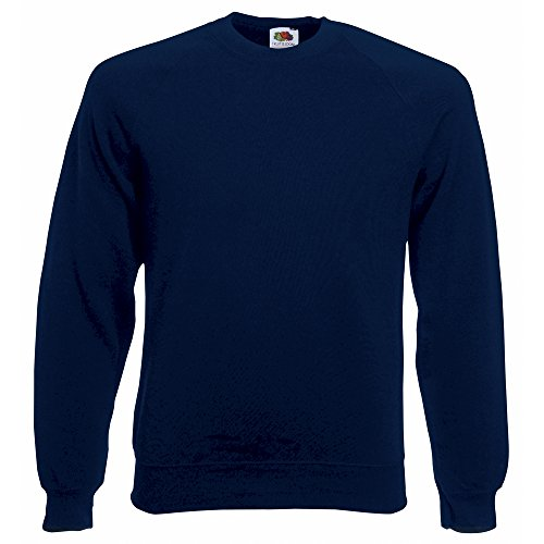 Fruit of the Loom - Raglan Sweatshirt, Felpa da uomo, blu (deep navy), L