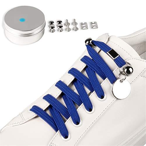 Schnürsenkel Elastische Flache mit einstellbarer Spannung-Outdoor Sport Gummi Schnellschnürsystem ohne Binden,Sneaker Turnschuhe - High Qualitäts - Kinder-Erwachsene,ca. 7,0 mm breit (blau)