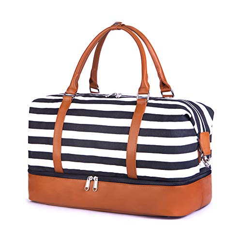 SUVOM Women Weekend Bag Canvas Overnight Travel Tote Bag Weekender Bag Carry on Shoulder Duffel Bag With PU Leather Strap (Black & White Thick Stripe with shoe compartment)