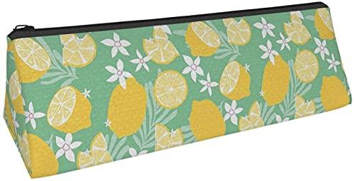 Estuche de lápiz triangular con diseño de flores verdes limón, bolsa de cosméticos, bolsa con cremallera para almacenamiento diario de objetos pequeños en la escuela, oficina, viajes o maquillaje.