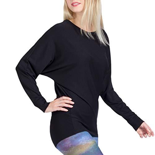 Magadi Yoga-Shirt Anna schwarz für Damen aus Bio-Baumwolle, Damen Oberteil, Sweater für Yoga, Pilates, Gym, nachhaltig und fair