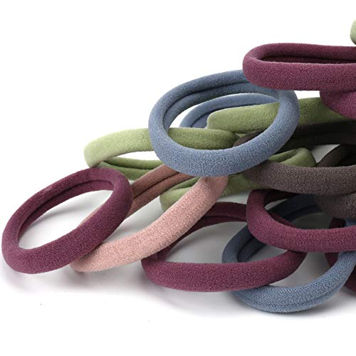 50PCS Large Hair Bands, Thick Cotton Seamless Hair Ties, Hair Elastic Ponytail Holders, No Damage for Thick Heavy Hair, 2 Inch in Diameter, 5 Colors by Nspring