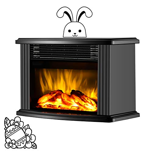 DONYER POWER, Electric Fireplace, Mini Tabletop, Portable Heater, Black Metal, 1500W, Room Heater, Space Heater