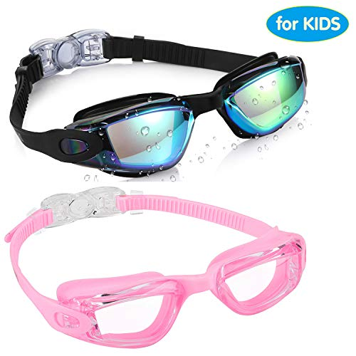 aegend Kids Swim Goggles Pack of 2 Swimming Goggles for Children Boys amp Girls Age 39 Silicone Nose Bridge Clear Vision EasyAdjustable Strap UV Protection AntiFog No Leaking Aqua amp Pink