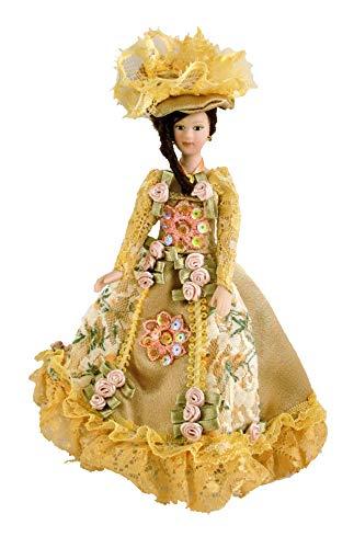 Personas en Miniatura para Casa De Muñecas Porcelana Victoriana Mujer EN Dorado