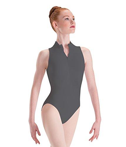Motionwear Zip Front Mock T High Cut Leotard, Shadow Gray, X-Large Adult