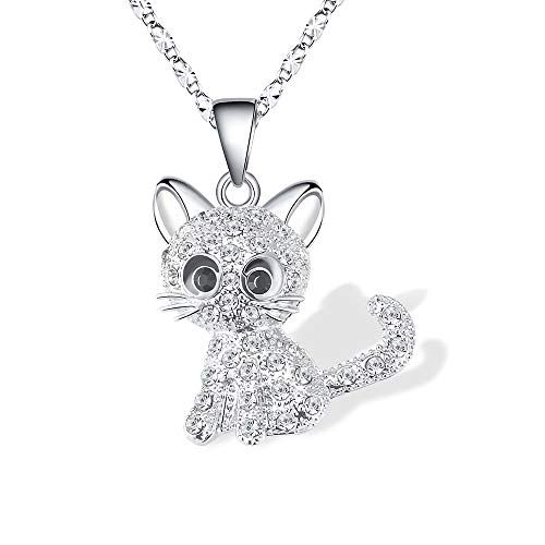 Kitty Cat Pendant Necklace Jewelry for Women Girls Kids, Cat Lover Gifts Silver Chain Necklace 18+2.3 inch