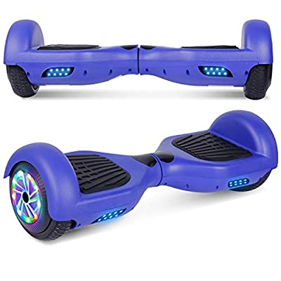 """UNI-SUN Chrome Hoverboard for Kids, 6.5"""" Two Wheel Electric Scooter, Self Balancing Hoverboard with Bluetooth and LED Lights for Adults, UL 2272 Certified Hover Board (A02 Blue(No Bluetooth))"""
