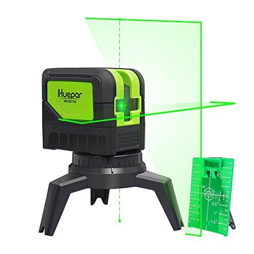 Huepar 9211G Kreuzlinienlaser Grün mit 2 Laserpunkte, DIY Linien Laser Selbstnivellierenden und Neigungsfunktion mit Lotfunktion, 15m Arbeitsbereich, inkl. Magnetische Halterung und 2 AA Batterie
