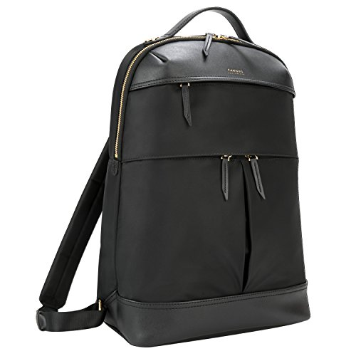 Targus Newport mochila de trabajo de 15 L, mochila para portátiles de hasta 15'' con compartimento protector, mochila impermeable con tres bolsillos – negro, TSB945GL