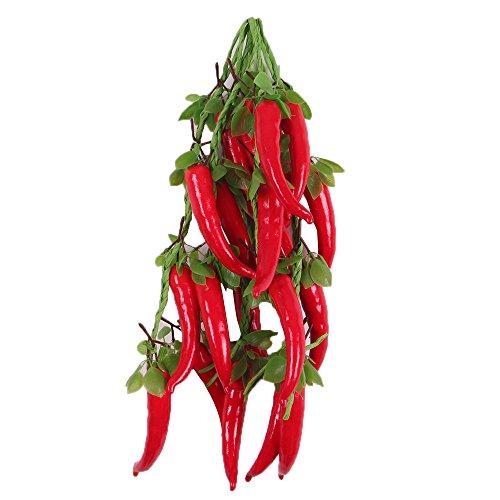 5Pcs Hängen Künstliche Obst/Gemüse Kunststoffe Haus Wohnzimmer Deko - Rot Pfeffer mit Blätter, One Size