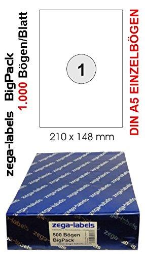 1.000 Etiketten 210 x 148 mm selbstklebend einzeln = DIN A5 Bögen (1x1 Etikett DIN A5) - 1.000 Blatt BigPack - Universell für Laser/Inkjet/Kopierer einsetzbar - Adressetiketten 148 x 210 mm einzeln