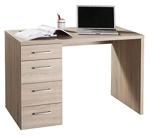 Amazon Marke - Movian - Schreibtisch mit 4 Schubladen, 110 x 74 x 60cm, Helle Eiche