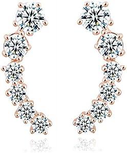 Fashion Diamond Crystal Moon Earrings Luxury Rose Gold Earrings Jewelry Valentine Gift