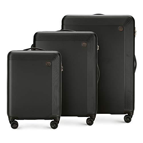 Stabiler Koffer-set 3tlg. Trolley Koffer Reisekoffer von Wittchen Schwarz ABS Hartschalen kofferset Trolley 4 rollen Kombinationsschloss Gepäck S-M-L-Set