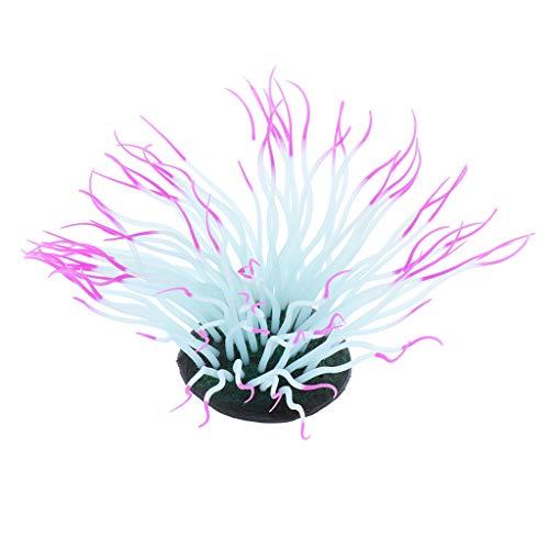 シリコン製 人工植物 人工水草 安全 発光 イソギンチャク匹形 直径約7 cm 吸盤付き 全3色 - パープル