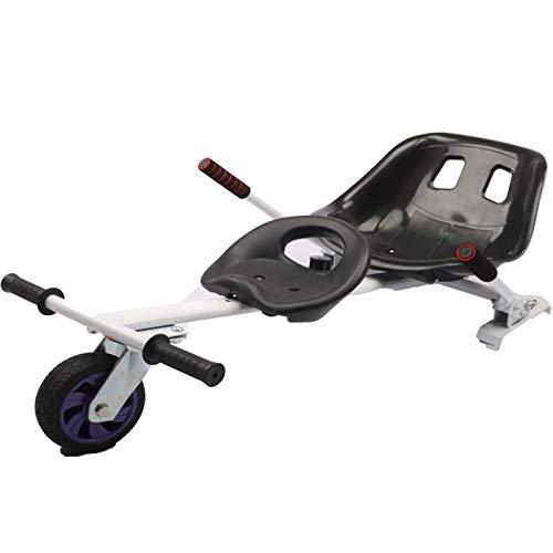 YAHAO Silla para Hoverboard Doble,Electrico Hover Kart Ajustable para Patinete Eléctrico Asiento Kart Adaptarse A 6.5 8 10 Pulgadas Hoverboard Go Kart con Asiento para Niños Y Adulto,White