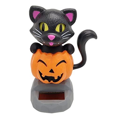 Aoegwmae Solar Powered Bobbing Pumpkin Cat Figure Model - Fun Solar Science Toy Bobbleheads Home Desktop Car Halloween Decor
